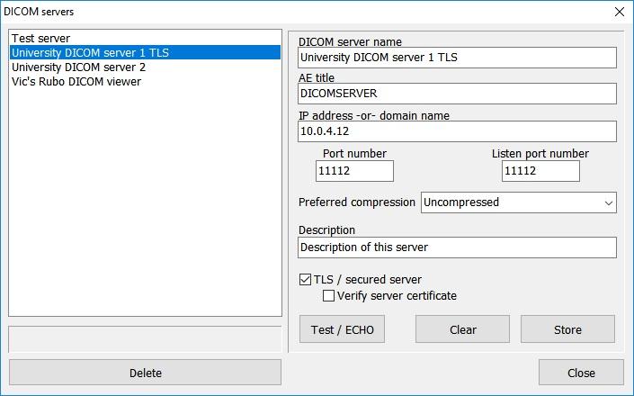 Setup DICOM server/PACS Rubo DICOM viewer